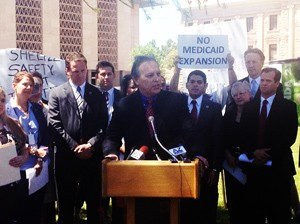 Senate President Andy Biggs speaks against Medicaid expansion at a Capitol news conference April 25, 2013. / Twitter