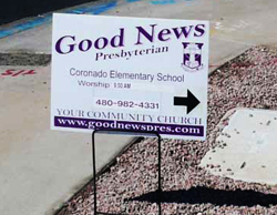 One of the contested Good News Community Church street signs /  ADF