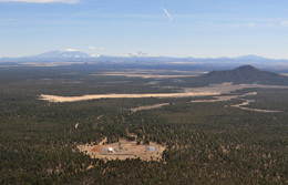 The Canyon Mine in the Kaibab National Forest south of the Grand Canyon, opened in the 1980s, is shown from the air. / Photo by Tara Alatorr