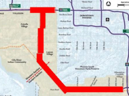 The red line shows a potential route for the South Mountain Freeway.