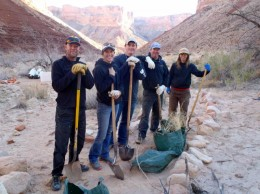 A handful of guides help park service folks clean up campsites and trails in the Grand Canyon./www.grandcanyonwhitewater.com/