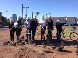 The groundbreaking of the Union @ Roosevelt development in downtown Phoenix on Wednesday, March 4, 2015, is shown. /Twitter Photo:@MayorStanton