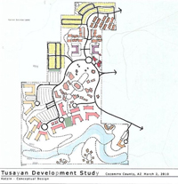 A 2010 conceptual design of Stilo's development at Kotzin Ranch, a 160-acre parcel about a mile northwest of the town of Tusayan. Yellow represents single-family housing, orange represents multi-family residential, light orange represents lodging, mauve represents cultural campus, brown represents institutional park, red represents neighborhood retail, pink represents ground level retail, purple represents dormitories and green represents park areas./Stilo drawing