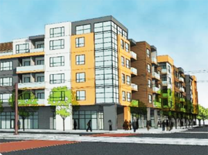 This idea has about 7,300 square feet of retail space and 114 residential issues, for an estimated cost of $21 million. : Rendering-inFORM Development