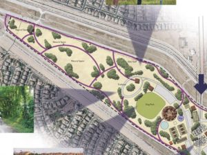 The southern end of Concept 3, bordered by the future extension of Ocotillo Road to the north and Higley Road to the east, includes a dog park, ramadas, playground, tennis courts, natural space, disc golf area, and a trailhead.