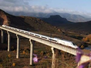 An AVE bullet train in Spain travels between Barcelona and Madrid. Other Spanish lines don't cover their operating expenses, a study showed. /Renfee