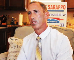 Chris Sarappo was campaigning on a platform of legalizing recreational marijuana and using it to help fund schools.